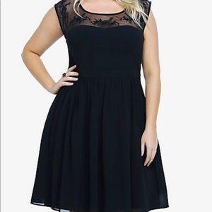 Torrid Mesh Embroidery Black Dress 3 XL